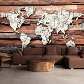 Papel de parede autocolante - Map On Wood