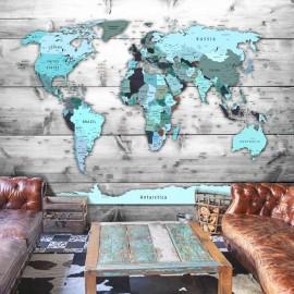 Papel de parede autocolante - World Map: Blue Continents