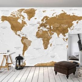 Fotomural autoadhesivo - World Map: White Oceans