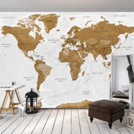 Papel de parede autocolante - World Map: White Oceans