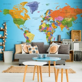 Papel de parede autocolante - World Map: Colourful Geography
