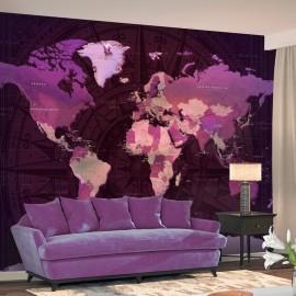 Papel de parede autocolante - Purple World Map