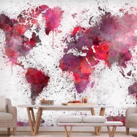 Fotomural autoadhesivo - World Map: Red Watercolors
