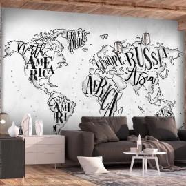 Papel de parede autocolante - Retro Continents (Grey)