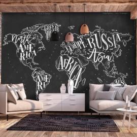 Papel de parede autocolante - Retro Continents (Black)