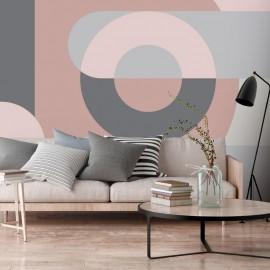 Fotomural autoadhesivo - Geometric Wreath (Pink)