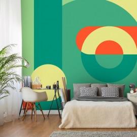 Fotomural autoadhesivo - Geometric Wreath (Green)