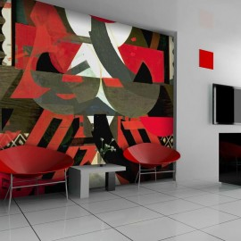 Fotomural - Una composición artística en rojo