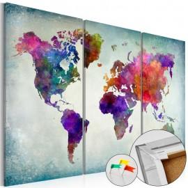 Quadro de cortiça - World in Colors [Cork Map]