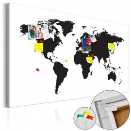 Tablero de corcho - World Map: Black & White Elegance [Cork Map]