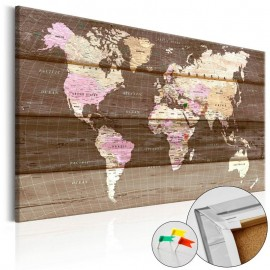 Quadro de cortiça - Wooden World [Cork Map]