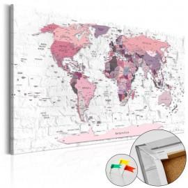Quadro de cortiça - Pink Frontiers [Cork Map]