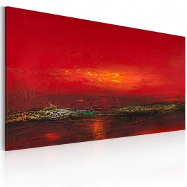 Cuadro pintado - Rojo atardecer sobre el mar
