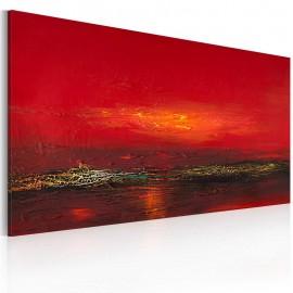 Quadro pintado à mão - Vermelho do sol sobre o mar
