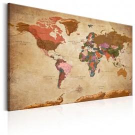 Quadro - World Map: Brown Elegance