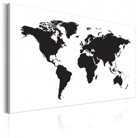 Quadro - World Map: Black & White Elegance