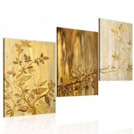 Quadro pintado à mão - Folhas douradas