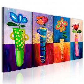 Cuadro pintado - Flores de arco iris
