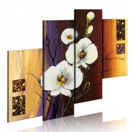 Quadro pintado à mão - Orquídea branca