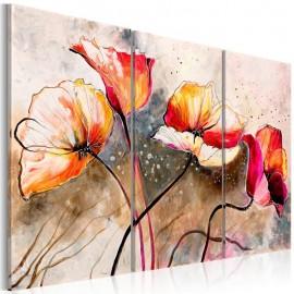 Cuadro pintado - Amapolas azotadas por el viento