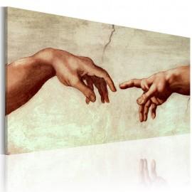 Quadro pintado à mão - A criação de Adão: fragmento da pintura