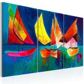 Quadro pintado à mão - Veleiros coloridos