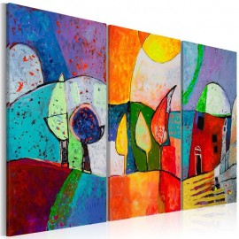 Cuadro pintado - Paisaje de colores