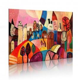 Cuadro pintado - Pueblo de colores