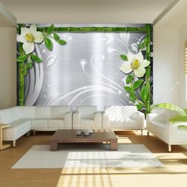 Fotomural - Bambú y dos orquídeas