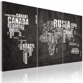 Quadro - Mapa do Mundo (em espanhol) - tríptico