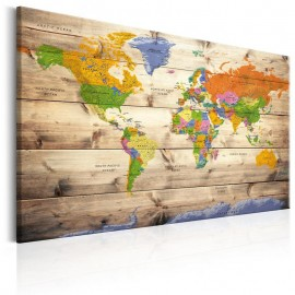 Cuadro - Map on wood: Colourful Travels