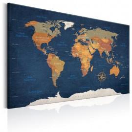 Quadro - World Map: Ink Oceans