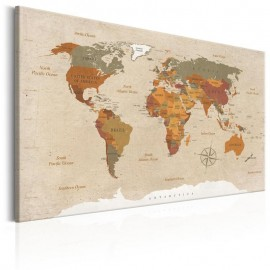 Quadro - World Map: Beige Chic
