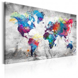 Cuadro - World Map: Grey Style