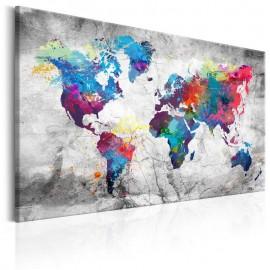 Quadro - World Map: Grey Style