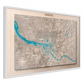 Pôster - Raised Relief Map: Hamburg