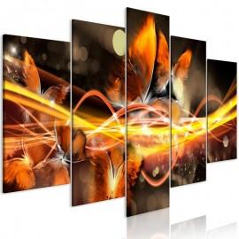 Cuadro - Swarm of Butterflies (5 Parts) Wide Orange