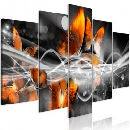 Quadro - Swarm of Butterflies (5 Parts) Wide Grey