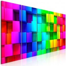 Quadro - Colourful Cubes (5 Parts) Narrow