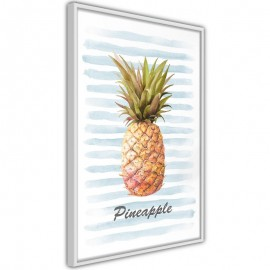 Póster - Pineapple on Striped Background