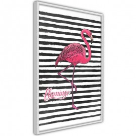 Póster - Flamingo on Striped Background