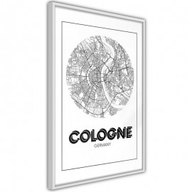 Pôster - City Map: Cologne (Round)