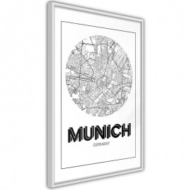 Pôster - City Map: Munich (Round)