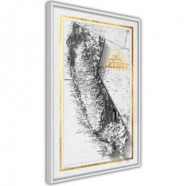 Pôster - Raised Relief Map: California