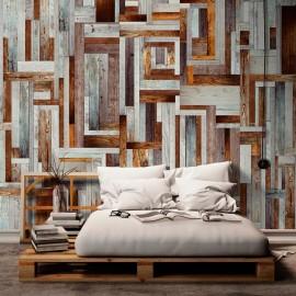 Fotomural - Laberinto de tablas de madera