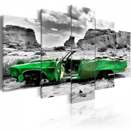 Cuadro - Coche verde al estilo retro en el Desierto de Colorado