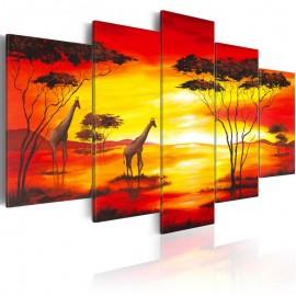 Quadro - Girafas no fundo com por do sol