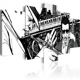 Quadro - Concerto de jazz no fundo dos arranha-céus de Nova York - 5 peças