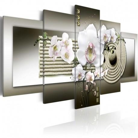 Cuadro - Orquídea y jardín zen en gris