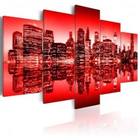 Quadro - Brilho vermelho sobre Nova York - 5 peças